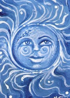ACEO blue sky sun shine swirly face smile original painting by MOTYL