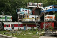 Camper complex, from a theatre set, but this would make a very fun Bed and Breakfast.