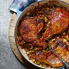 In this one-skillet dinner recipe, Kentucky bourbon gives a kick to these sticky glazed pork chops. Bourbon Glazed Porkchops with Hoppin' John - Eating Well Healthy Southern Recipes, Healthy Pork Recipes, Pork Chop Recipes, Healthy Cooking, Cooking Recipes, Healthy Eating, Venison Recipes, Diabetic Recipes, Healthy Foods