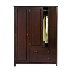 This wenge finish wardrobe features multiple compartments including two drawers and two hanging rods to address all your storage needs.  This handsome piece can be used for additional bedroom, entry, or home office storage.
