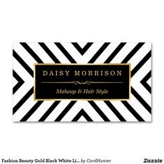 Fashion Beauty Gold Black White Line Pattern Double-Sided Standard Business Cards (Pack Of 100)