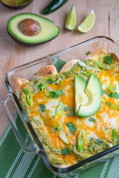 Chicken and Avocado Enchiladas in Creamy Avocado Sauce with corn tortillas -