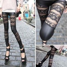Fashion Women Floral Lace Striped Black Wet Look Leggings Slim Tight Pants OS US in Clothing, Shoes & Accessories, Women's Clothing, Leggings | eBay