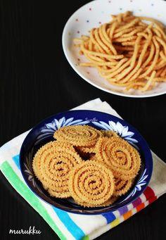 murukulu or chakli – a south Indian murukku recipe made using rice flour, lentils and is deep fried to crunchy. Made during diwali, navratri - Murukku Easy Indian Snacks, Indian Appetizers, Diwali Snacks, Diwali Food, Diwali Recipes, Tasty Vegetarian Recipes, Snack Recipes, Cooking Recipes, Sweets Recipes