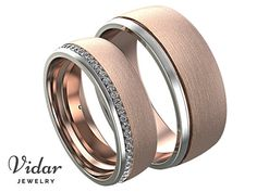 matching wedding bands,His and Hers Wedding Band Set,unique matching wedding bands,Unique Ring,Two Tone Wedding Bands,Brushed Wedding Band