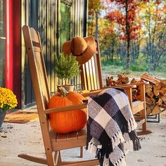 Adirondack Chairs, Outdoor Chairs, Outdoor Furniture, Outdoor Decor, Pole Barn Homes, Autumn, Fall, Rocking Chair, Home And Garden