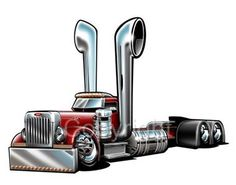 Big-Rigs Cool Drawings   Details about Peterbilt Big Rig Semi Truck Cartoon Tshirt 1027 Freight ...