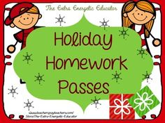 Use this FREEBIE to create Holiday gifts for your students!  Give each student a homework pass and attach a pencil or candy cane!  Students will love this gift!   Thanks for stopping by! You can also find me... Email extraenergeticeducator@yahoo.com The Extra Energetic Educator Blog   The Extra Energetic Educator on FaceBook The Extra Energetic Educator on Pinterest   *****If you purchase this product, please be sure to leave feedback in my TpT store so the you can gain credits toward your…