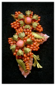 Miriam Haskell Coral Floral & Poured Glass Leaves Brooch