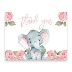 Elephant Baby Shower Thank You Card - √ Elephant Baby Shower Thank You Card , Pink Elephant Baby Shower Thank You Postcard Baby Girl Elephant, Elephant Baby Showers, Elephant Nursery, Pink Elephant, Cheap Baby Shower, Girl Shower, Baby Shower Themes, Shower Baby, Baby Elefant