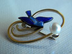 Signed Wells 14k GF Blue Bird with Real Pearl Brooch by EMERALDLAKEJEWELS on Etsy