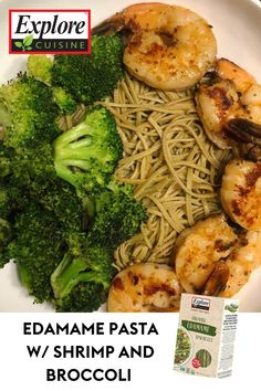 Skip the sluggish feeling of a heavy meal and try this lean, simple, and satisfying recipe of Explore Cuisine's edamame pasta, roasted broccoli, and grilled shrimp 🍤🍤 Edamame Spaghetti, Edamame Pasta, Shrimp And Broccoli, Grilled Shrimp, Plant Based Recipes, Diy Food, Roast, Meals, Explore