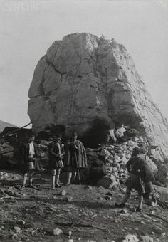 Five men gather beside a giant boulder on Mount Parnassus-Fred Boissonnas Giant Boulder, National Geographic Images, Greece Photography, Frederic, Photo Library, Image Collection, Bouldering, Royalty Free Photos, Athens