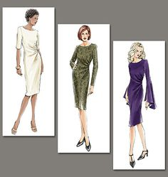 Sewing pattern, custom design, couture clothes, Vogue: dress with side-ruching detail V7762
