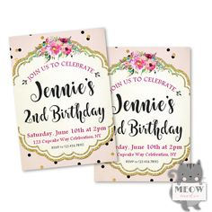 Pink & Gold 2nd Birthday Invitations for Little Girl's