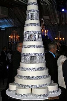Multi tear white crystal wedding cake