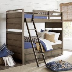 """Legacy Classic Kids Big Sky Twin Over Twin Bunkbed has a casual and relaxed style with attention to detail that is a signature trait of the Wendy Bellissimo brand and what has made her a recognized style leader in family lifestyle products. Coastal mix of sun and sand with the feeling of an outdoor active lifestyle including rustic, weathered woods and natural textures combine for the quintessential """"Lifestyle"""" collection that's laid back, hip, and creates a comfortable vibe. #twins…"""