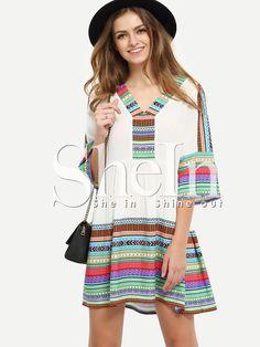 Multicolor Print V Neck Hollow Back Shift Dress