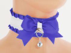 White blue satin Kitten Collar Kitten Play by FashionForWomen