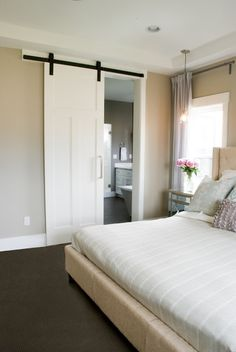 Modern barn door – alternative to a pocket door! Modern barn door – alternative to a pocket door! Bedroom Closet Doors, Room Doors, Master Closet, Bathroom Closet, Hallway Closet, Room Window, Barn Door To Bathroom, Bathroom Laundry, Bathroom Bath