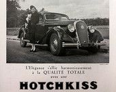 HOTCHKISS poster car advertising vintage car ad A3 poster, vintage French ad, original art deco poster, old magazine ad, L'Illustration 1936