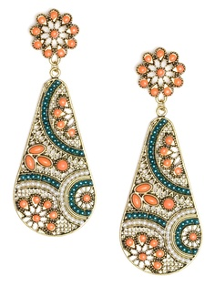 These striking drop earrings tap into India's rich culture of craftsmanship. They feature an intricate floral mosaic filled with pearls, beads and exquisitely colored stones.