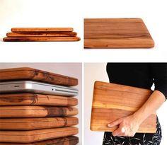 wood laptop case