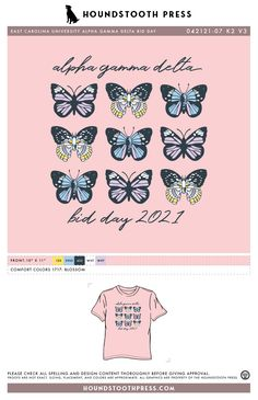 #sorority #greeklife #customdesign #lovethelab // Houndstooth Press Custom Apparel Sorority Bid Day, Sorority Shirts, Custom Design Shirts, Greek Life, Fraternity, Custom Clothes, Houndstooth, Fairytale, Butterfly