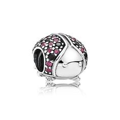 Linked to good luck, protection and said to bring your true love to you, this colorful ladybird is rich in symbolic meaning. PANDORA's adorable depiction sparkles with vivid red and black stones bringing its playful polka dot design to life. #PANDORAcharm