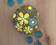 Rock Art, Hand Painted Rock, Painted Stone, Painted Rock, Mandala Design, One-of-a-Kind Gift, yellow shades of orange collection #51