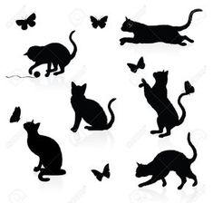 Silhouettes de chats avec papillons.