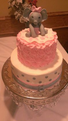 Buttercream baby shower cake I made- pink/grey with baby girl elephant topper