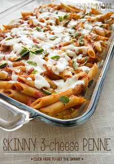 You have to try this delicious and low calories 3 cheese penne casserole!  It's a delicious healthy  dinner!