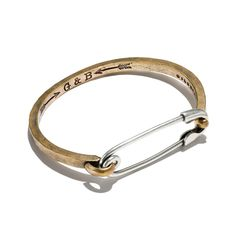 Giles & Brother - Safety Pin ID Cuff Brass and Silver Oxide Silver Bracelets, Jewelry Bracelets, Silver Jewelry, Fine Jewelry, Jewelry Making, Men's Jewelry, Silver Ring, Silver Earrings, Diamond Jewelry