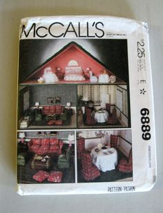 McCalls 6889 Dollhouse and Doll Furniture Pattern 25H x 30W 3 Rooms Living Room Bedroom Dining Room UNCUT FF 1979. via Etsy.
