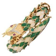 1950s Green and White Enamel Diamond Gold Flexible Serpent Bracelet  1