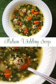 This easy Italian Wedding Soup recipe is a popular Italian American soup made with acini de pepe pasta, spinach, carrots, and meatballs.