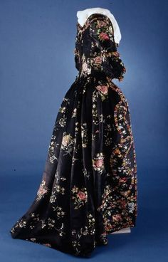 Black embroidered satin gown, 1770's from Colonial Williamsburg