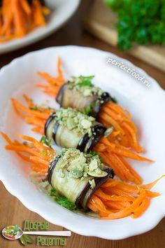 Как сделать рулетики из баклажанов с морковью