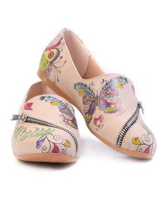 Another great find on #zulily! Light Pink Zipper-Accent Butterfly Slip-On Shoe #zulilyfinds