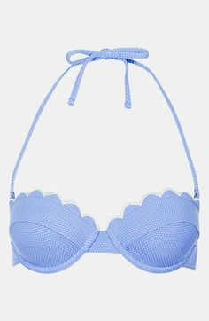 Topshop Cornflower Scalloped Bikini Top | Nordstrom