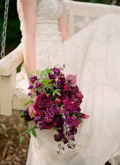wow! check out this purple wedding bouquet @Kate F. Cameron