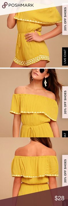 NWT Lulus mustard yellow romper This has never been worn and is oh so cute! It's a mustard yellow with white detail. Strapless with a cover lay over the chest. Lulu's Dresses