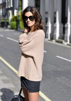 loving the combination of a comfy sweater and a mini