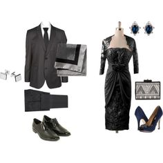 """Cocktail date in black and white"" by maria-kuroshchepova on Polyvore"