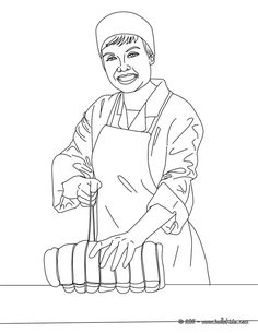 butcher ties up a roast coloring page amazing way for kids to discover job