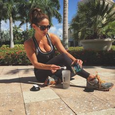 @1stPhorm Athlete @kerrihayesfit mixing up some #MegawattHD before her morning workout.