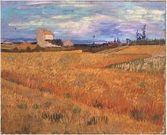 Wheat Field by Vincent Van Gogh  Painting, Oil on Canvas  Arles: June, 1888 http://www.vangoghgallery.com/catalog/Painting/738/Wheat-Field.html