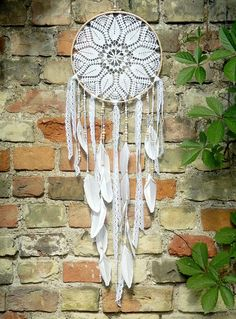 Crochet blanco grande dream catcher Boho decoración cordón
