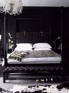 Jet-black in your bedroom is cool and calming and will ensure that drifting off is a cinch.